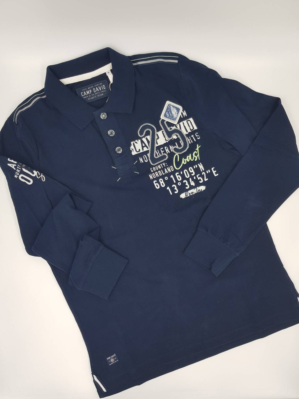 release date fantastic savings cost charm Camp David Poloshirt CCB 1808 3745 dunkelblau langarm mit weißem/grünem  Logoaufdruck bei Mode Schönleitner in Gmunden