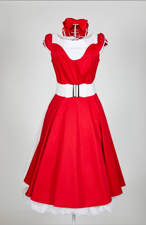 finest selection d4be4 bfac5 Rot-weißes Kleid rockabilly Herzen und Rosen