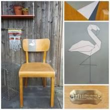 Stuhl, Küchenstuhl, Holzstuhl, Frankfurter Stuhl, Vintage, Retro, aufgearbeitet, upcycled, Flamingo, Origami, 50er, 60er, mid century