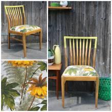 Stuhl, Küchenstuhl, Holzstuhl, Polsterstuhl, Vintage, Retro, mid century, upcycled, aufgearbeitet, 50er, 60er