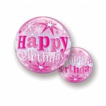 Bubble Ballone - Happy Birthday; Pink