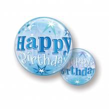 Bubble Ballone - Happy Birthday; Blau