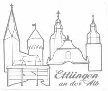 Ettlingen Aufkleber, Auto-Aufkleber, Stadt-Aufkleber Ettlingen an der Alb