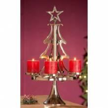 Adventskranz - Weihnachtsbaum aus Aluminium poliert - 4-flammig