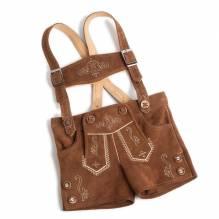 Kurze Lederhose für Kinder, Ziegenleder, inklusive Träger, Farbe braun, bei Lederbekleidung Paschinger kaufen