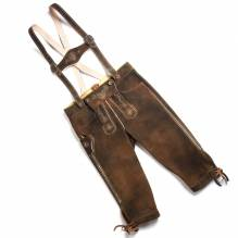 Trachtenechte Kniebund Lederhose, Farbe country, inkl. Hosenträger, Ziegenleder, bei Lederbekleidung Paschinger kaufen