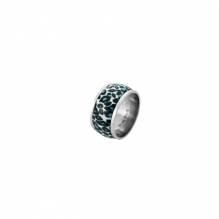 Trendiger Edelstahlring mit Leoparden - Design in schwarz-silbern von Miami-White
