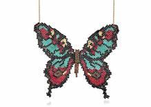 Papillon - Collier grand papillon perlé à la main - turquoise rouge turquoise noir noir