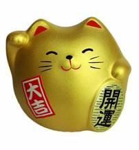 Japanische Katze: Maneki Neko Gold - Made In Japan
