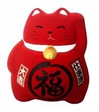 Japanische Katze: Maneki Neko Rot 9cm - Made In Japan