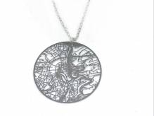 Luxembourg Urban Gridded Necklace - silver