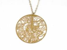 Luxembourg Urban Gridded Necklace - golden