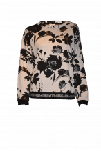 Sweater Damen Margittes in weiß mit Blumenprint schwarz bei Boutique Förstl