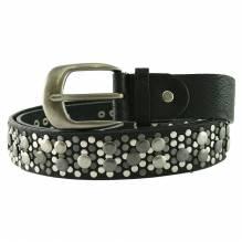 Damen Ledergürtel Fashiongürtel mit Nieten schwarz 3 cm SA-389
