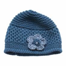 Damen kurze Mütze mit Blüte Woll Mix Mütze 81270044B40