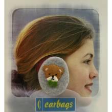 Earbags Rahmenlose Ohrwärmer Fleece grau mit Teddy Größe S