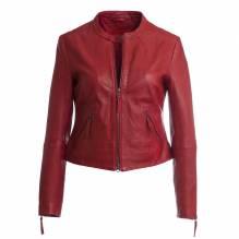 Kurze Lederjacke, Damen, Modell Doris, Farbe rot, bei Lederbekleidung Paschinger kaufen.