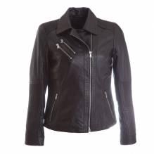 Modell Cloe, kurze Damenlederjacke im Bikerstyl, Farbe schwarz, bei Lederbekleidung Paschinger kaufen