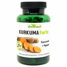 Kurkuma Forte - Bio-Kurkuma+Curcumin+Piperin, 160 Kapseln, 465mg, frei von Zusätzen