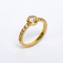 Brillantring UNIKAT, 18 Karat Gold, Brillant 0,50 Carat
