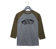 Vans OTW Raglan Boys Shirt 3/4 Arm Heather Grey-Grape Leaf Skateshop Hammerschmid Gmunden