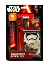 Star Wars Schreibset 5-teilig mit Bleistift, Radierer, Lineal, Spitzer, Notizblo