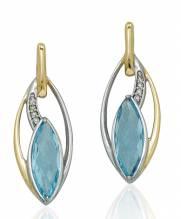 Stecker in GG/WG mit swiss blue Topas und Diamanten 01.EG166