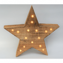 Stern aus Holz mit LED-Beleuchtung 30 cm