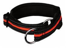 Zug-Stopp-Halsband Schwarz/Orange, S-M