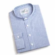 Stehkragen Pfoad, blau gestreift, Slim-Line, Leinen-Baumwollmischung, Herren Trachtenhemd mit Riegerl. Bei Lederbekleidung Paschinger kaufen.