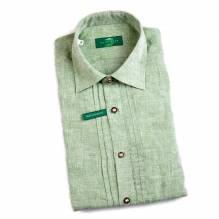Leinen-Hemd, Herrn, Langarm mit Biesen, Farbe grün, bei Lederbekleidung Paschinger kaufen