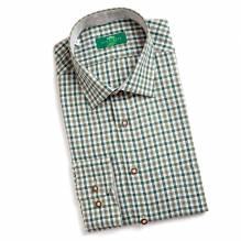 Herrn Hemd, Langarm, Farbe: braun/grün, Naturknöpfe,  Baumwolle, bei Lederbekleidung Paschinger kaufen.