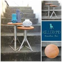 1 Tisch, Beistelltisch, Couchtisch, Tischchen, Blumentisch, Blumenständer, Industrial, Vintage, Werkstatt, Loft, Holz, Metall, Einweihung