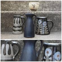 Vase, Vasen Set,Konvolut, Blumenvase, true vintage, Retro, West Germany, 60er, 70er, Keramik,Schwarz, Blau,floral, Flohmarktfund, Trödel