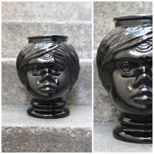 Übertopf, Pflanztopf,Pflanzen, Bubikopf, Gesicht,Vintage, Retro, West Germany, 60er, 70er, Glas, Flohmarktfund, Trödel