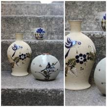 Vase, Vasen Set, Konvolut, Blumenvase, Vintage, Retro, mid century, Keramik, Vögel, blau, handbemalt, Flohmarktfund, Trödel, Landhaus
