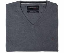Pullover von Marco Manzini, 100% Baumwolle, anthrazit, V-Ausschnitt, erhältlich bei Mode schönleitner Gmunden