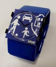 S.T.A.M.P.S.-Uhr 'Slow Down!' auf S.T.A.M.P.S.-Armband 'BELTA Classic Deep Blue