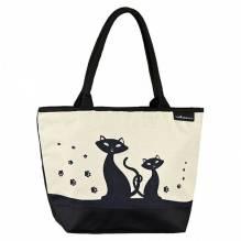 Tasche Shopper bedruckt mit Motiv 'Schwarze Katzen'