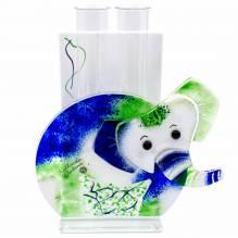 Vase Elefant 2 Glas Blau