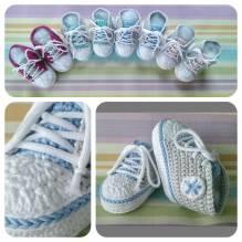 Häckel-Set - Baby Sneaker / Turnschuhe - hellblau, hellgrau, weiß