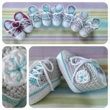 Häckel -Set - Baby Sneaker / Turnschuhe - mint, hellgrau, weiß