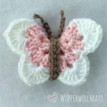 Schmetterling gehäkelt - rosa / weiß