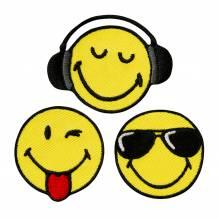 Applikationen - Patches - zum Aufbügeln - Smiley 3 Stück