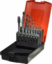 CLASSIC Maschinengewindebohrer Satz HSS-E Co5, ... Satz M 3-M 12 in RoseBox®+ Spibo's 14-teilig in Kunststoff-Box inkl. HSSECo8 Spiralbohrer