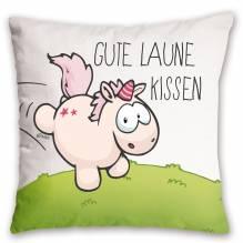 Nici Baumwollkissen Einhorn Theodor 'Gute Laune Kissen', 37 x 37 cm