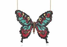 Butterfly - Hand beaded large butterfly necklace - turquoise red black