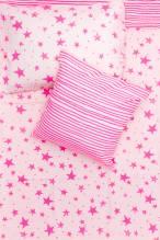 Baby Bettwäsche - Sterne & Streifen Neon Pink 100 x 135 cm