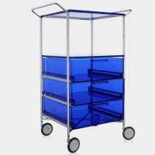 Kartell Mobil - Schrank mit Griffen, auf Rollen, mit 3 Schubladen und einem Fachboden aus kratzfestem durchsichtigem PMMA, blau