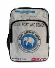Rucksack aus recycelten Zementsäcken - Elefant weiß-blau